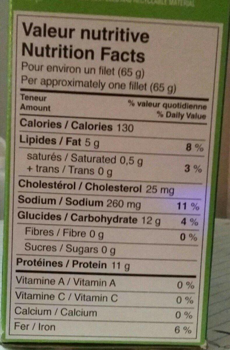 Filets de poulet - Nutrition facts - fr