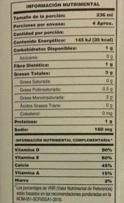 Alimento líquido sabor almendra sin endulzante - Voedigswaarden