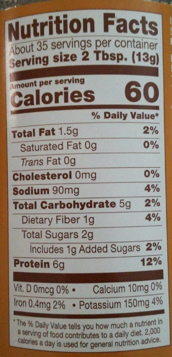 PB2 The Original Powdered Peanut Butter - Nutrition facts - en