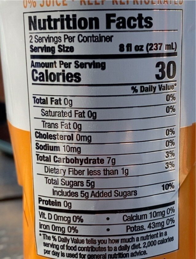 Citrus sunrise kombucha - Voedingswaarden - en