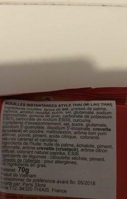 Soupe Nouille Lau Thai Vifon 70G Vietnam - Ingrédients - fr