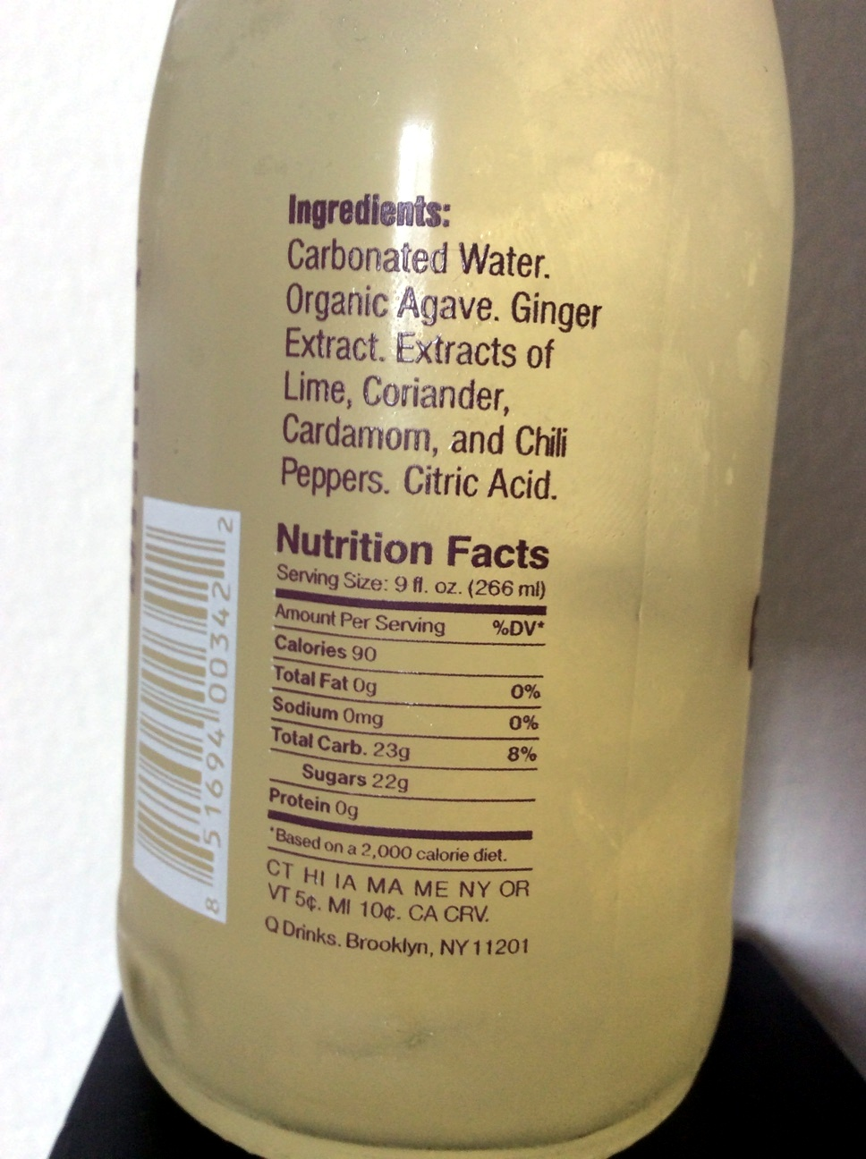 Q Ginger Beer - Nutrition facts