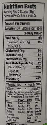Creamy Chocolate Fudge Plant Based Protein Powder - Nutrition facts - en