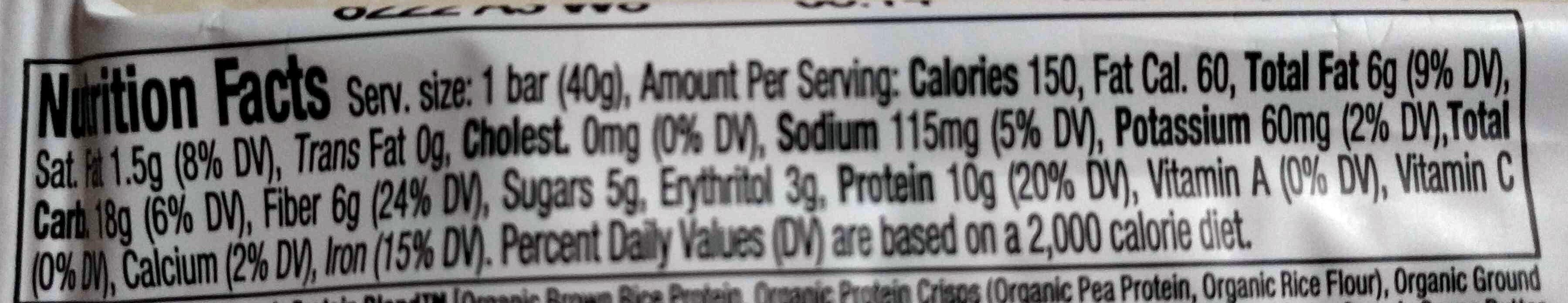 Peanut butter chocolate chunk plant based protein bar, peanut butter - Nutrition facts - en