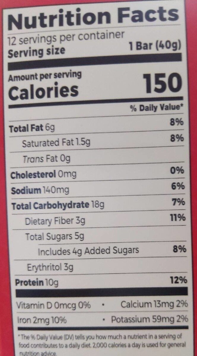 Orgain protein snack bar - Nutrition facts - en