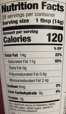 Extra virgin coconut oil - Nutrition facts - en