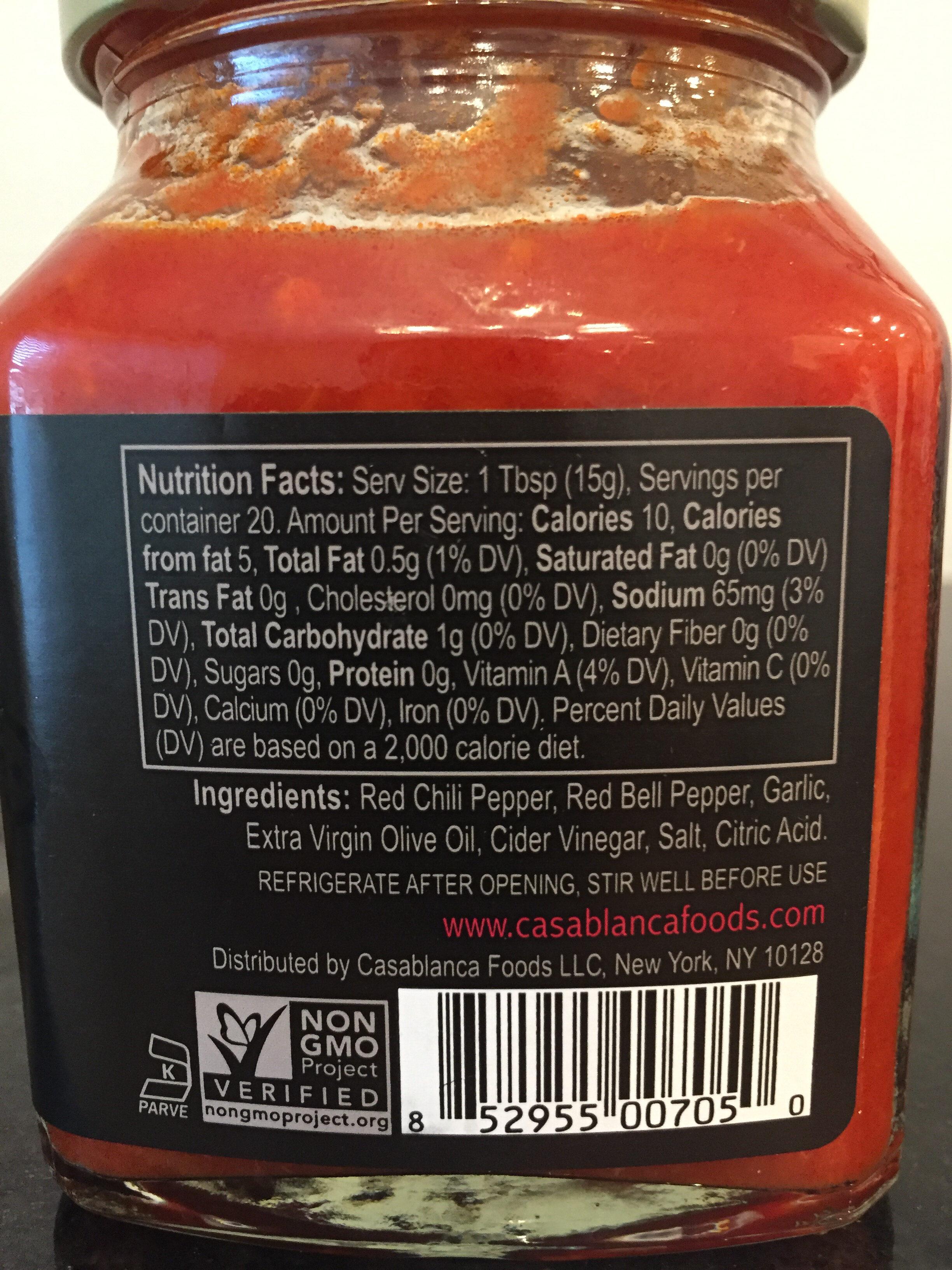 Harissa - Nutrition facts - en