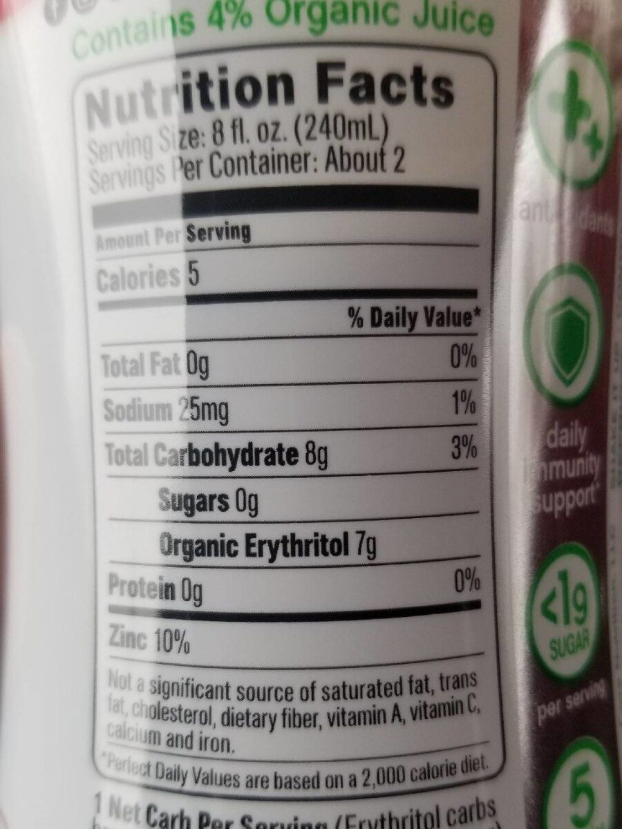 Organic Fruit Infused Beverage, Pomegranate Blue Acai - Nutrition facts