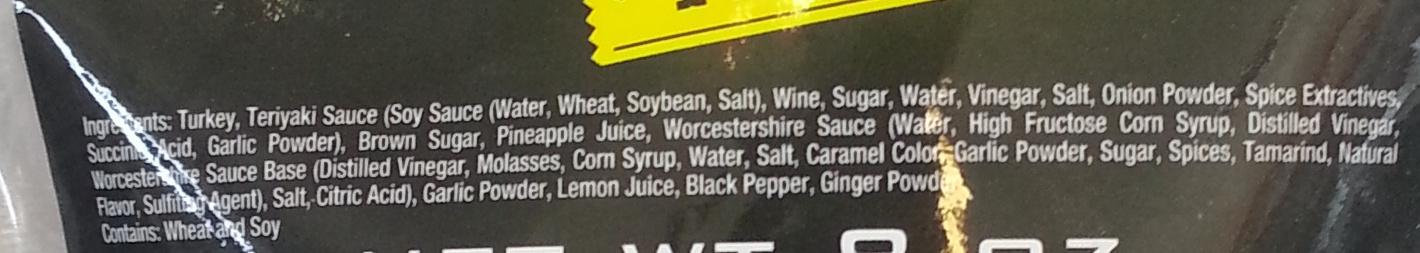 Turkey Jerky Teriyaki - Ingredients - en