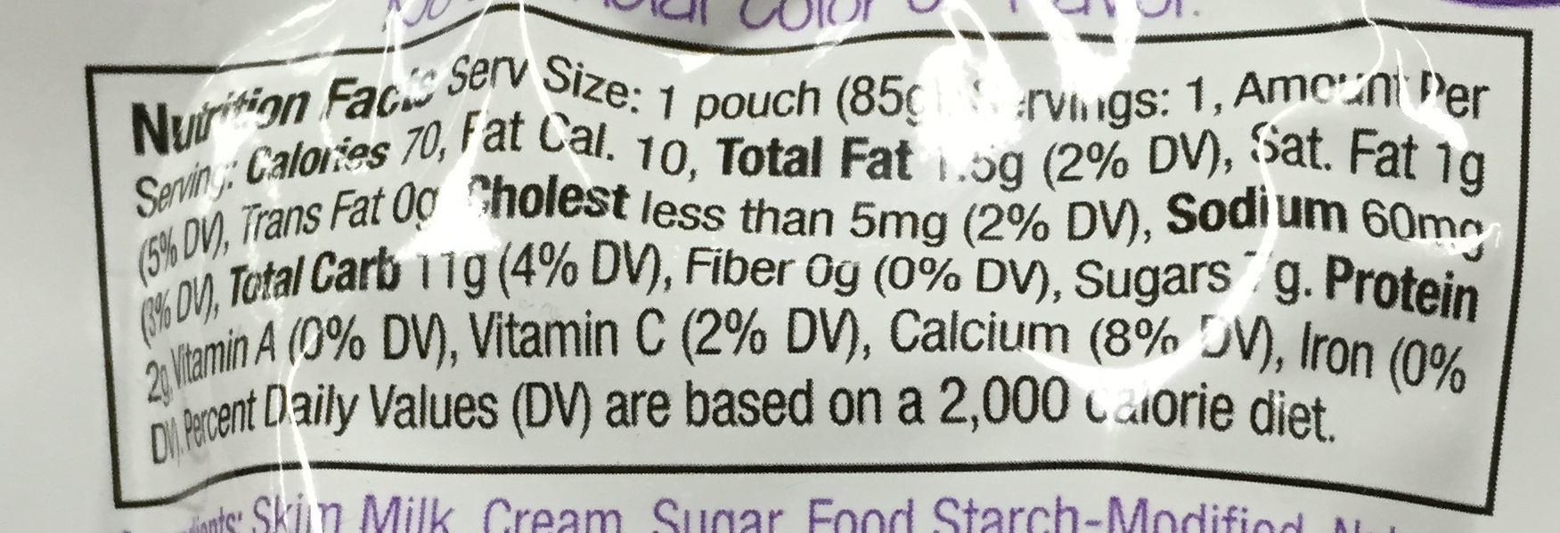 Pudding - Nutrition facts