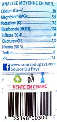 Eau Supermont - Informations nutritionnelles - fr