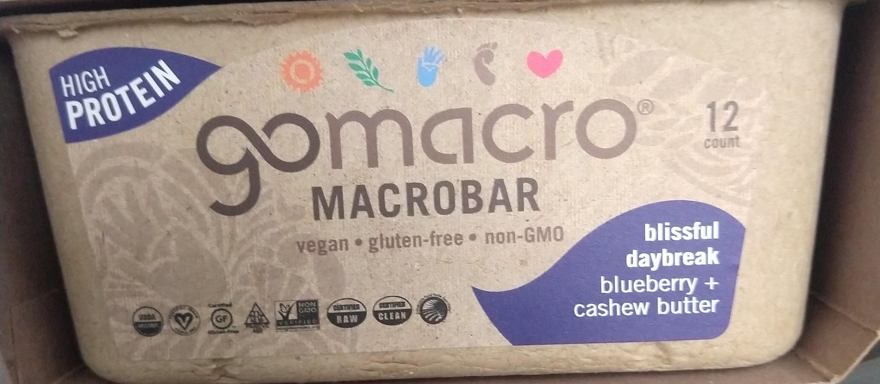 Blissful daybreak blueberry + cashew butter macrobar, blissful daybreak blueberry + cashew butter - Produit - en