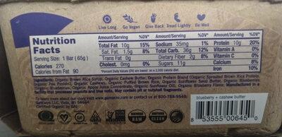 Blissful daybreak blueberry + cashew butter macrobar, blissful daybreak blueberry + cashew butter - Informations nutritionnelles - en