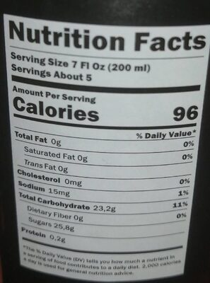 Apple juice - Nutrition facts - fr