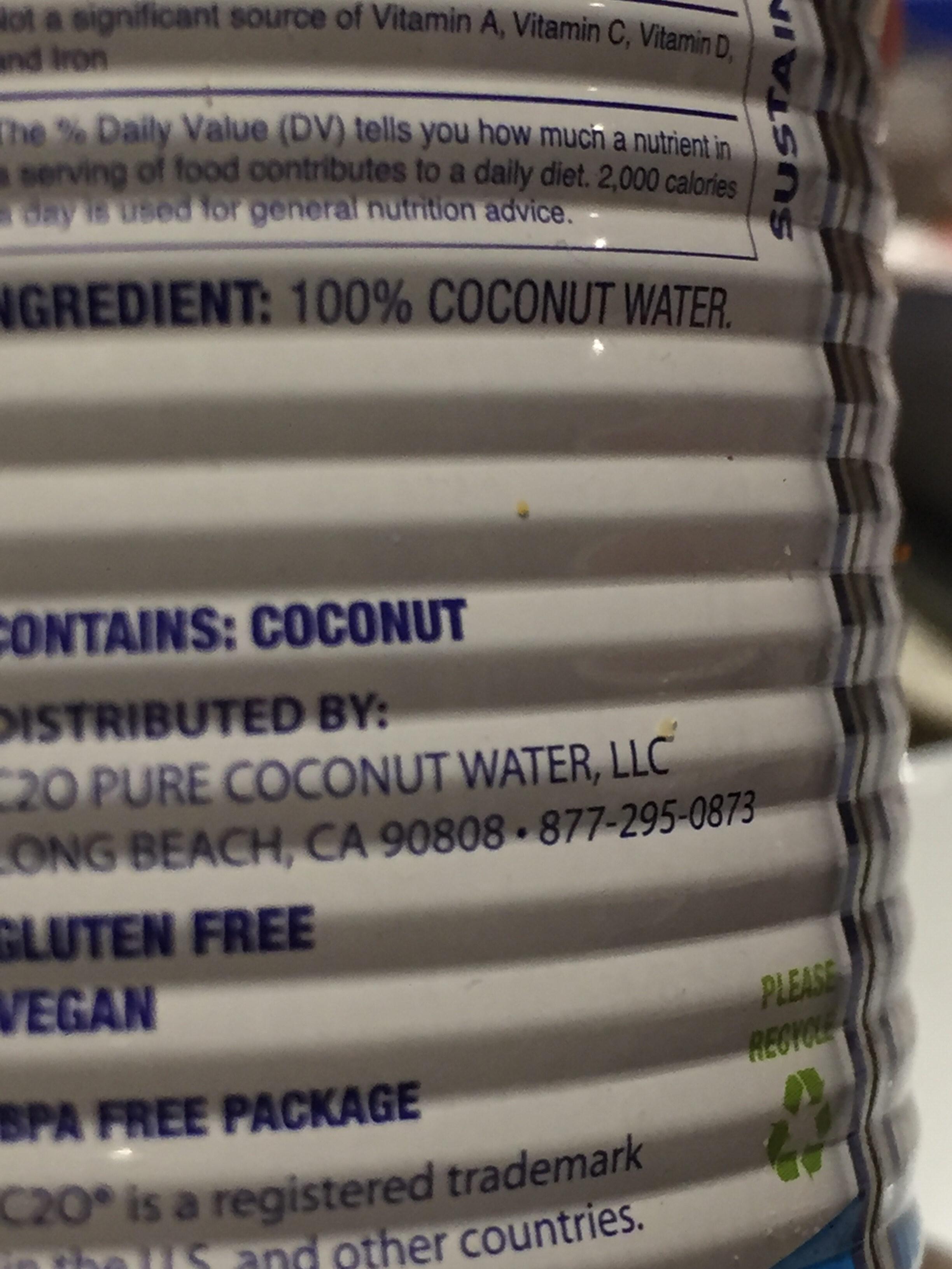 100% pure coconut water - Ingredients - en