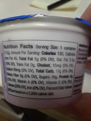blueberry yoghurt - Nutrition facts