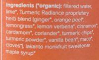 Turmeric radiance plant based tonics - Ingrédients - fr