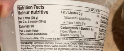 Salsa consistante - Nutrition facts