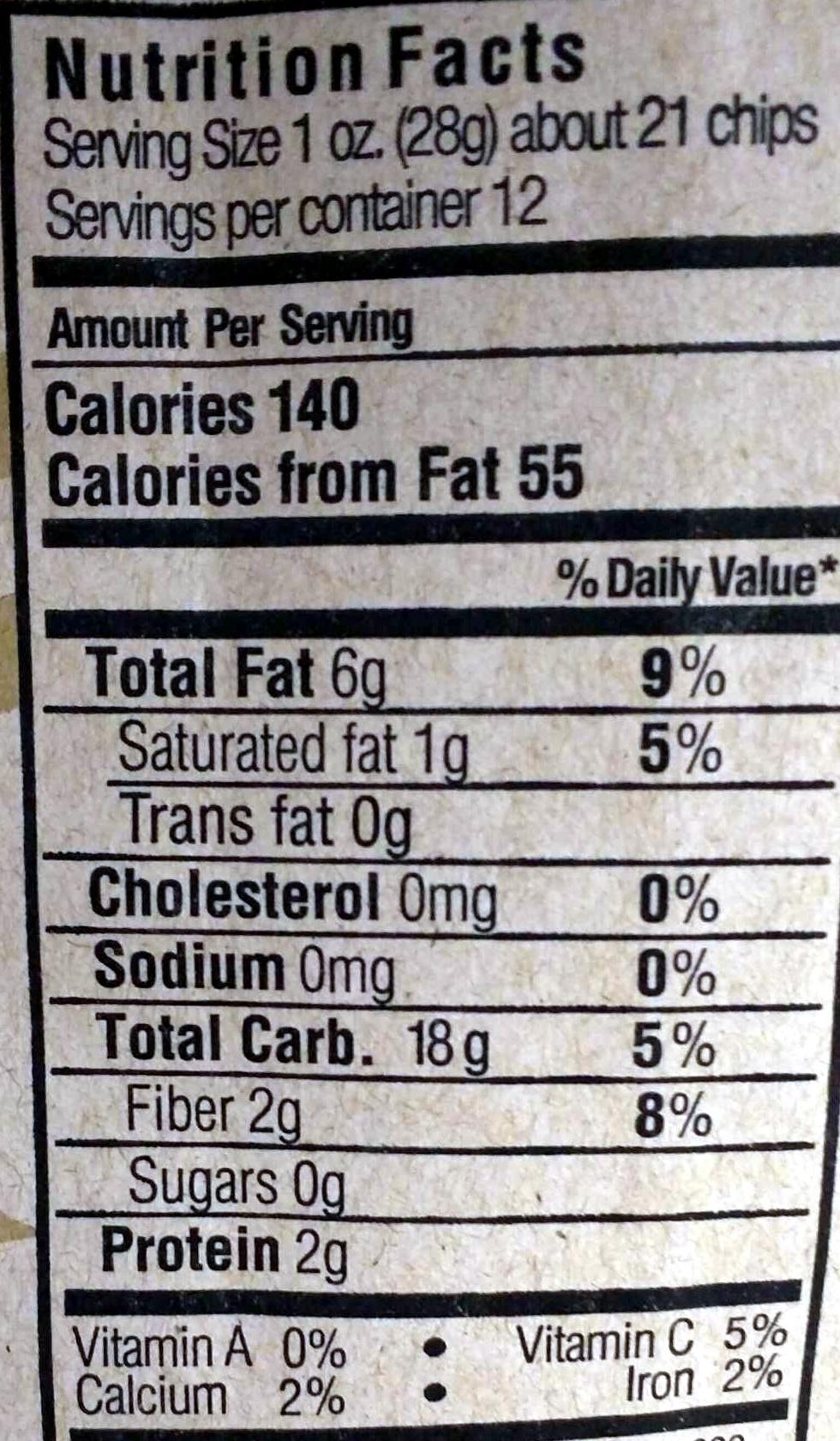 Thin & crispy corn chips mexican style - Informations nutritionnelles - en