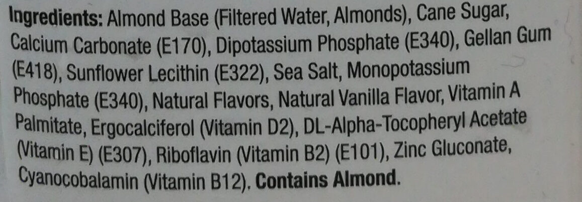 Almond Milk - Ingredients