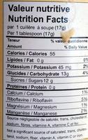 Fondant d'érable biologique - Nutrition facts - fr