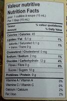 gelée à l'érable biologique  (organic mapple jelly ) - Nutrition facts - fr