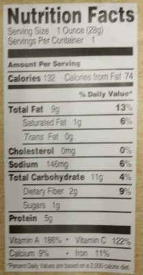 Raw Crunchy Kale - Nutrition facts