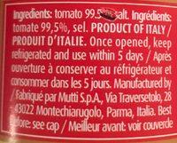 Mutti, Passata Coulis De Tomates 700G - Ingredients