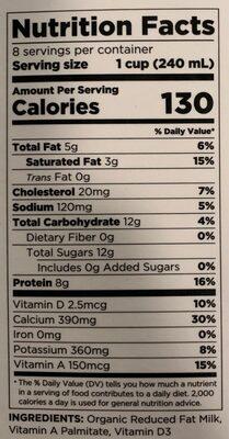 Daffodil 100% grassfed reduced fat milk, daffodil - Nutrition facts - en