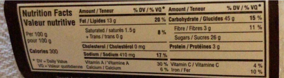 Spiced carrot cake - Nutrition facts - fr
