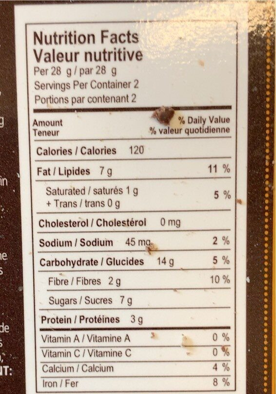 Chocolate Almond Biscotti - Nutrition facts - fr