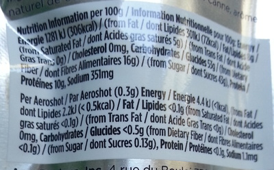 Aeroshot Chocolate - Nutrition facts