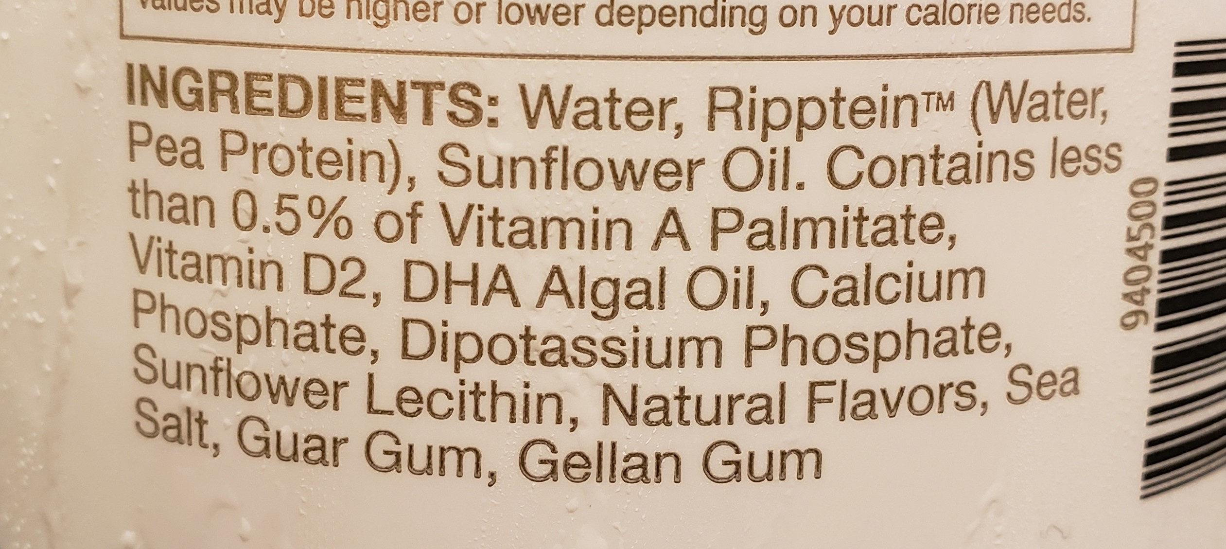 Nutritious pea milk, unsweetened original - Ingredients - en