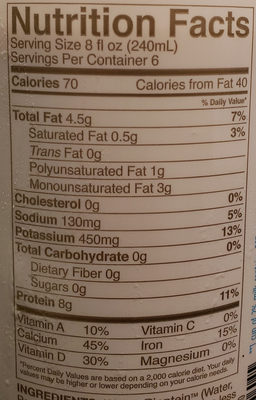 Nutritious pea milk, unsweetened original - Nutrition facts