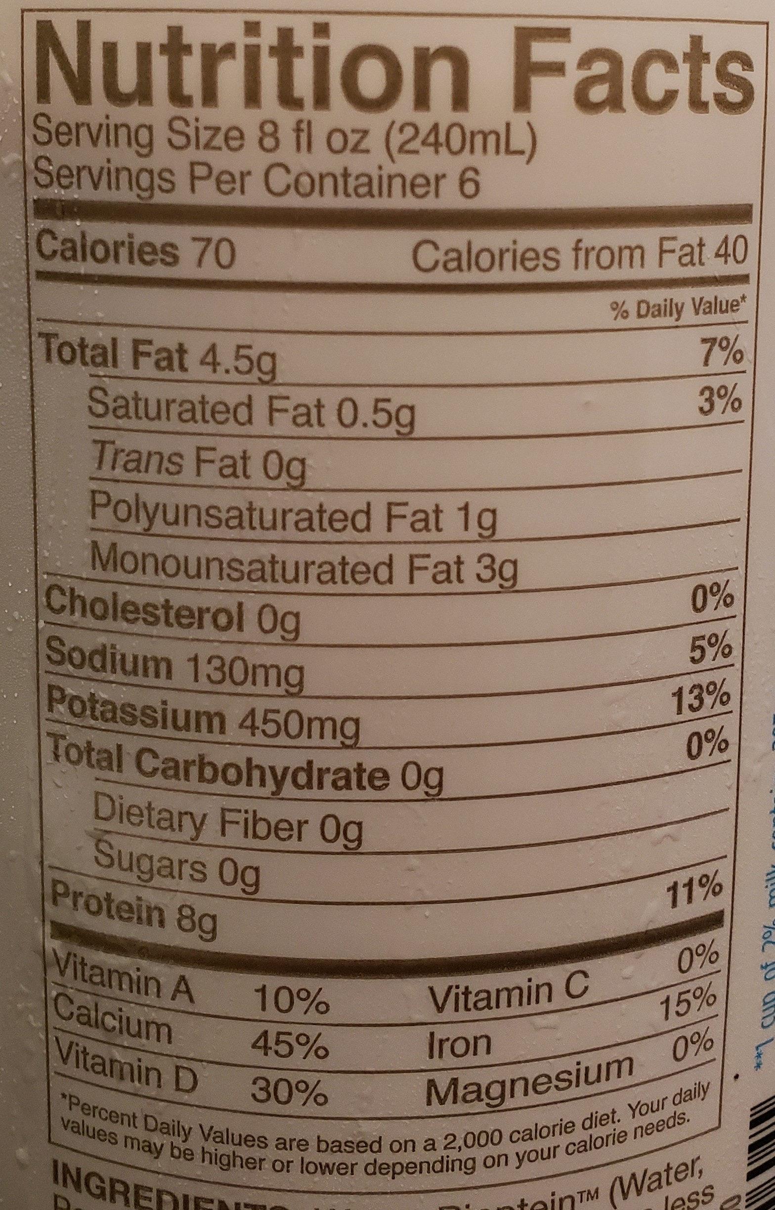 Nutritious pea milk, unsweetened original - Nutrition facts - en