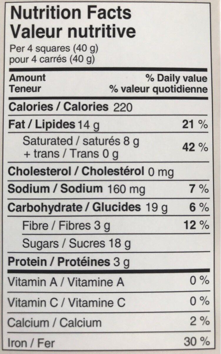 Chocolat Sel de mer noir - Voedingswaarden - fr