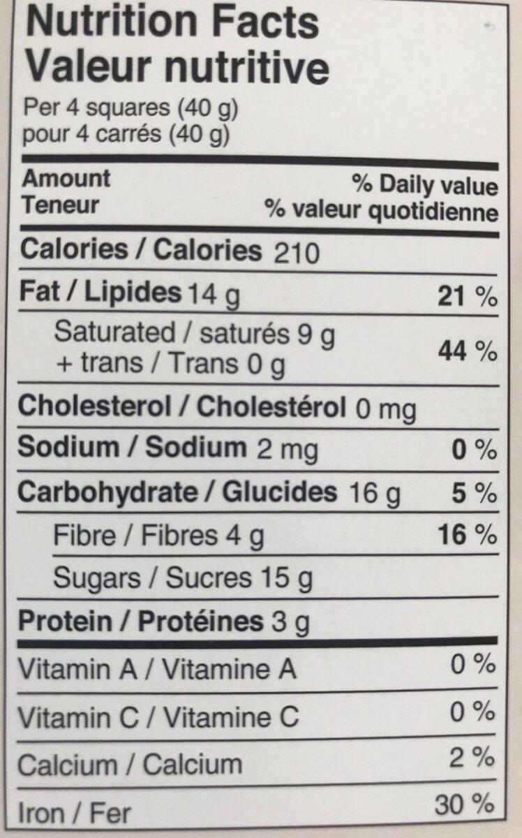 Chocolat Quinoa Noir - Voedingswaarden - fr