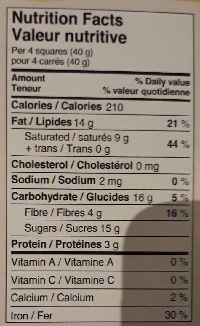 Quinoa noir - Nutrition facts