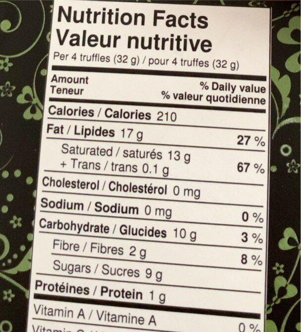 Truffes biologiques - Nutrition facts - en