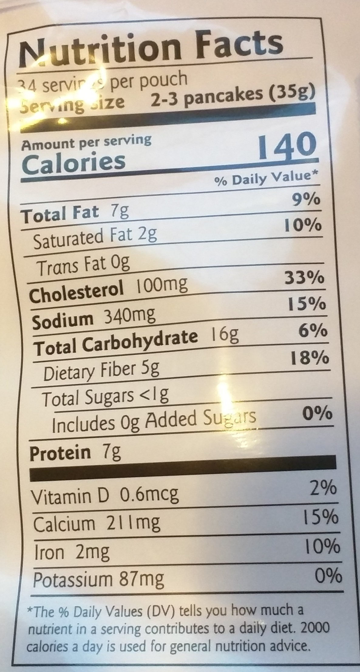 Pancake and waffle mix - Nutrition facts - en
