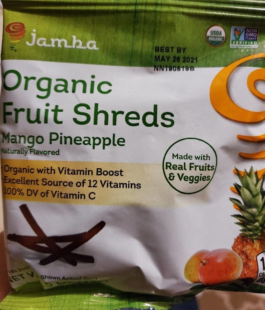 Mango pineapple organic fruit shreds - Product - en