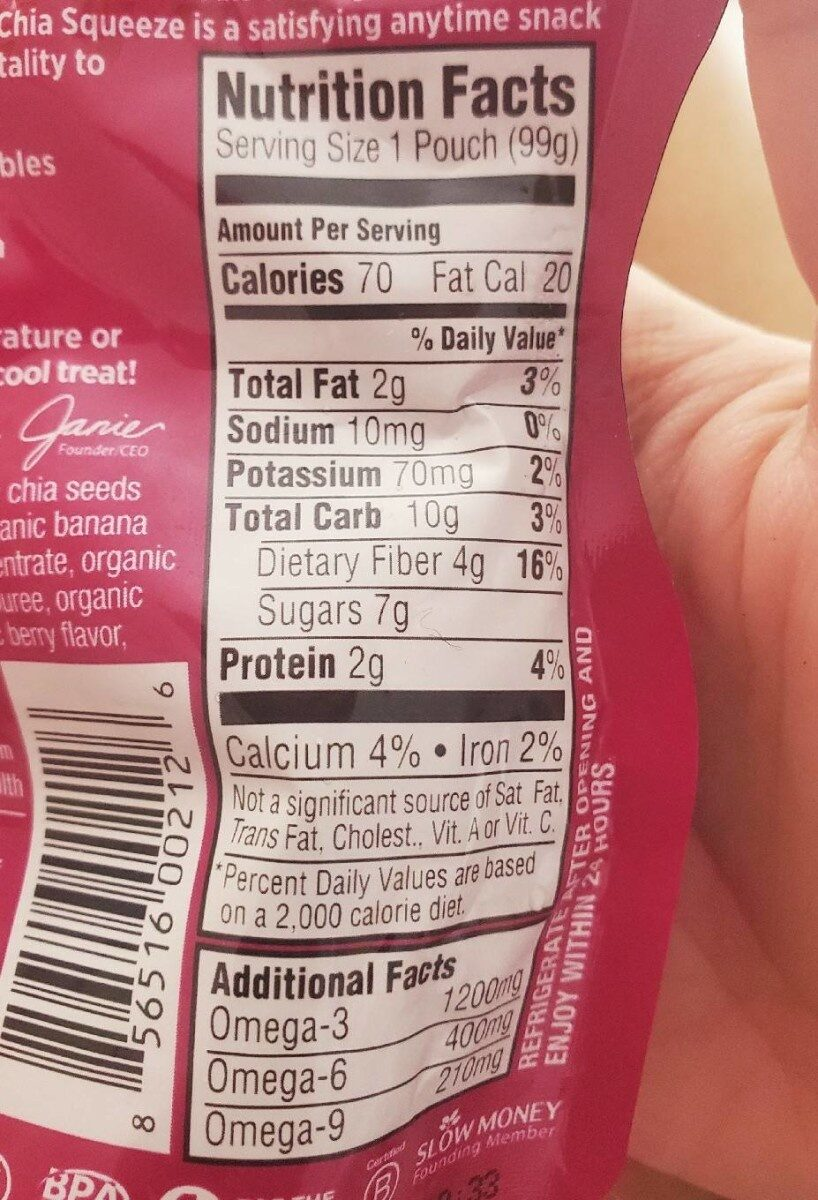 Chia squeeze strawberry banana - Nutrition facts - en