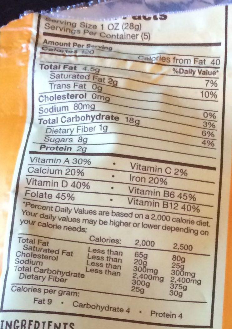 Organic Smart Cookies, Orange Chocolate Beet - Voedingswaarden - en