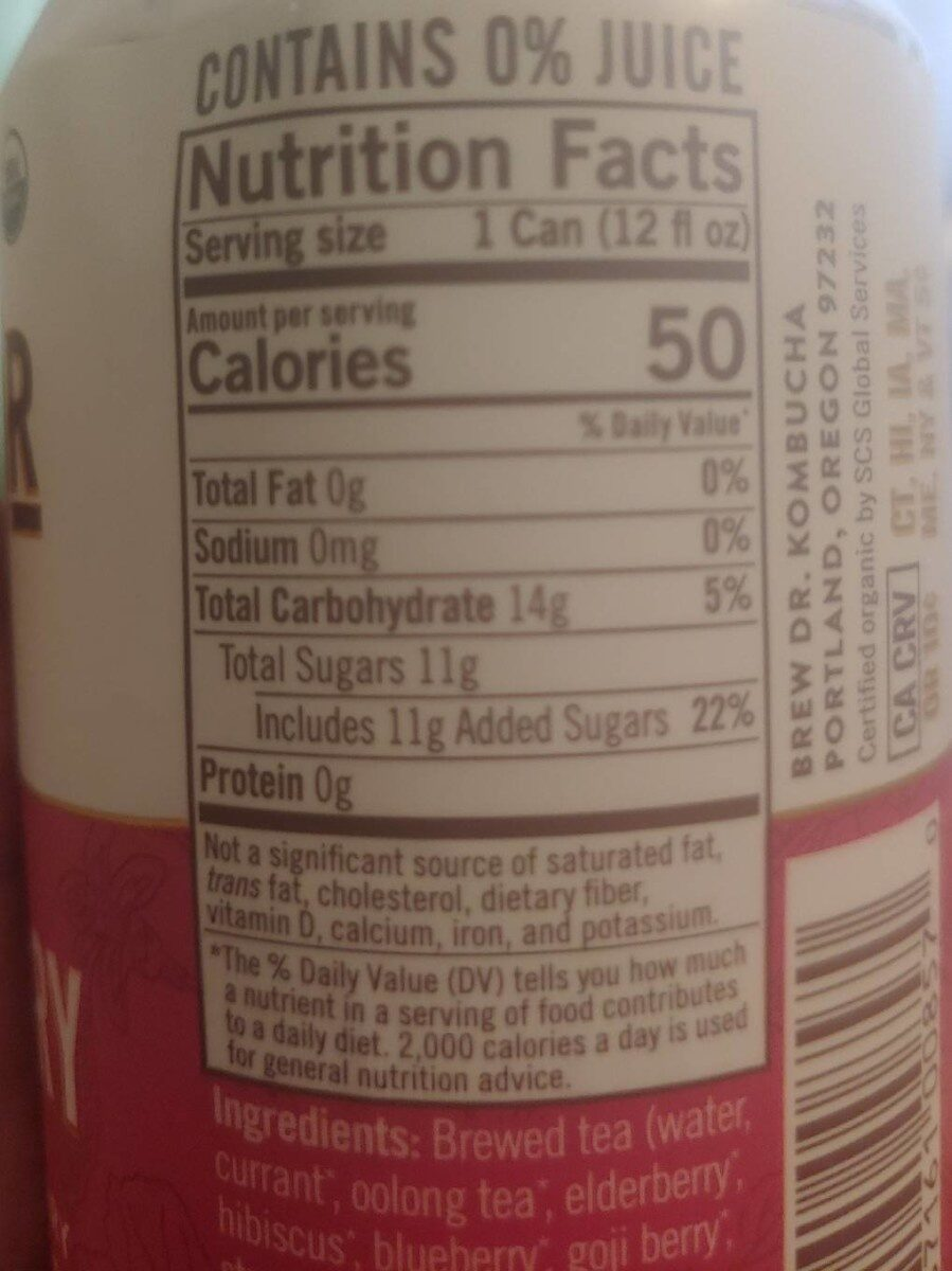 Kombucha superberry - Nutrition facts - en