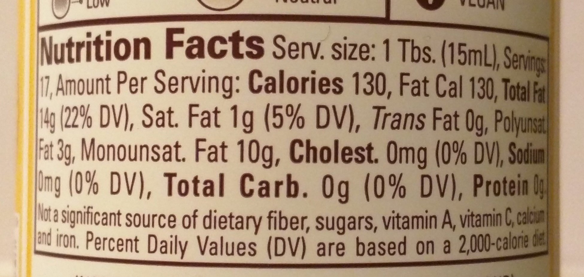 Roasted Almond Oil - Nutrition facts