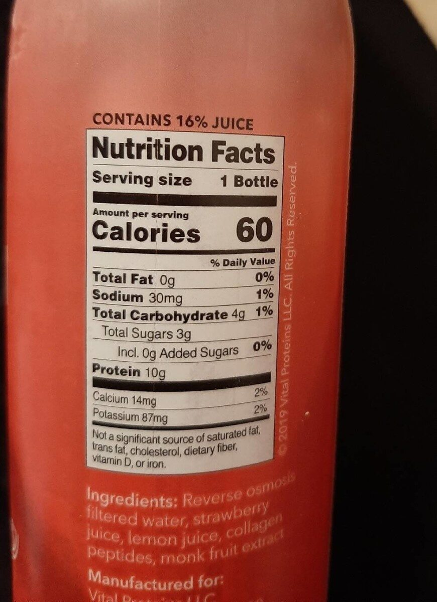 Collagen water - Nutrition facts