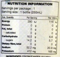 Coconut Water - Pineapple - Nutrition facts