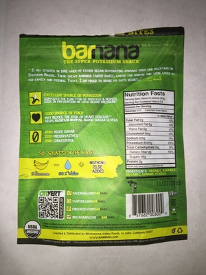 Organic original chewy banana bites - Ingredients