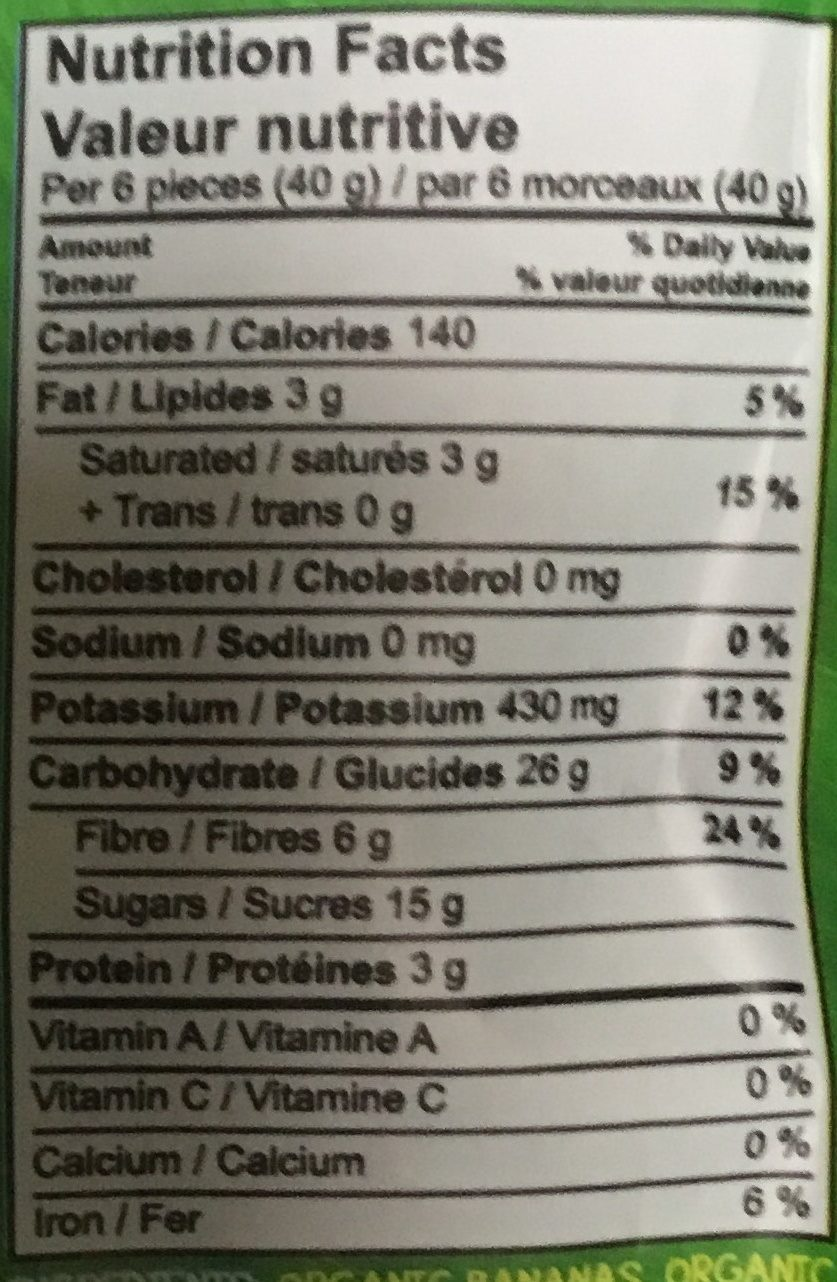 Organic Chewy Banana Bites, The Super Potassium Snack, Coconut - Nutrition facts