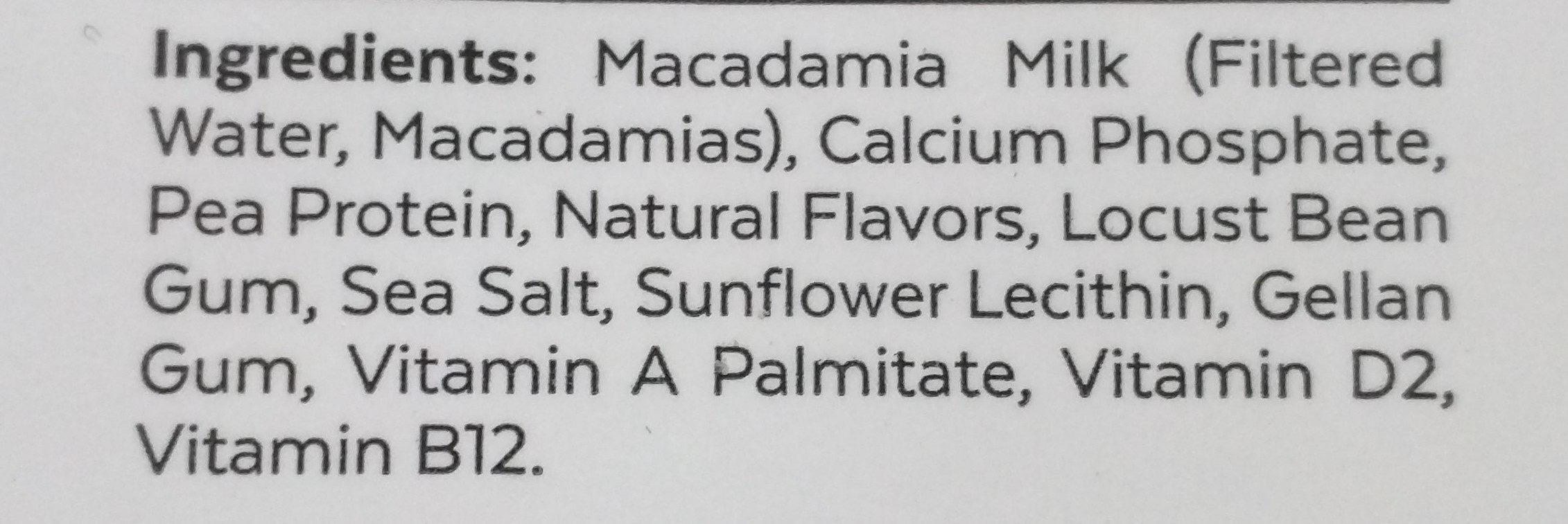 Milk macadamia unsweetned - Ingredients - en
